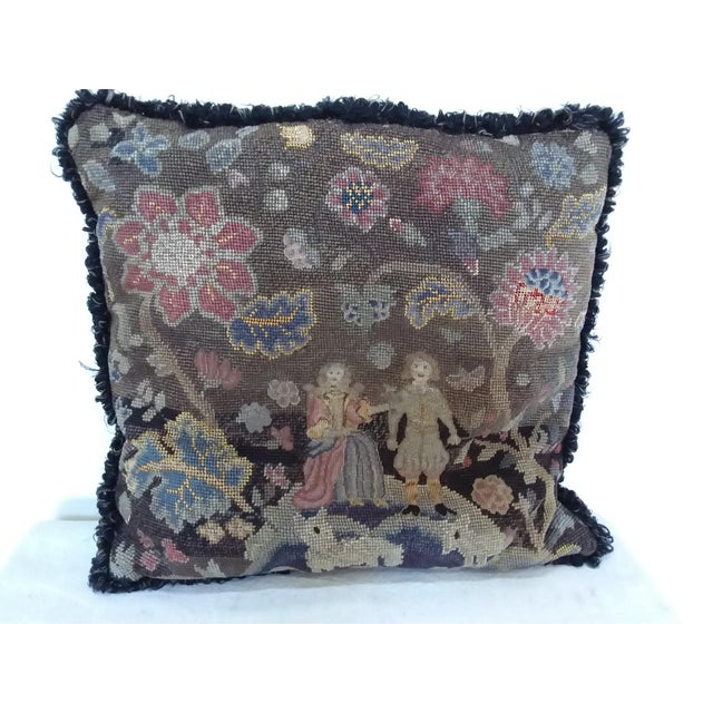 Country Antique Early American Needlepoint Pillow For Sale - Image 3 of 4
