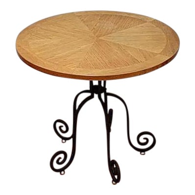 Heritage wrought iron base pecan accent table chairish for Wrought iron side table base