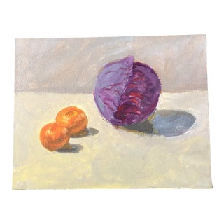 Original Contemporary Impressionist Still Life Painting Red Cabbage & Oranges For Sale