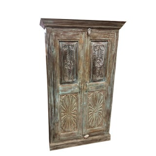 1920s Rustic Blue Old Doors Armoire Cabinet