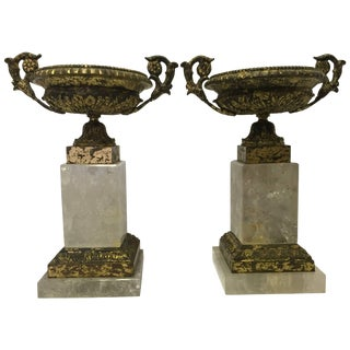Italian Neoclassical Style Pair of Rock Crystal and Bronze Tazzas For Sale