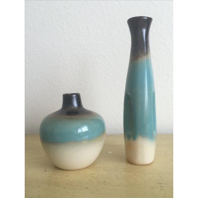 Navajo Southwestern Teal Ombré Bud Vases - Pair - Image 5 of 7