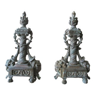 19th-Century Americana Bronze Andirons - a Pair For Sale