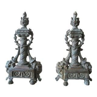 19th-Century Americana Bronze Andirons - a Pair