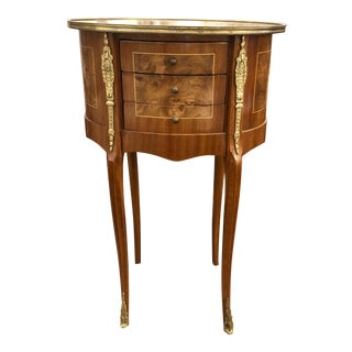 895d4de2d63 1980s French Rococo Style Birds Eye Maple Side Table
