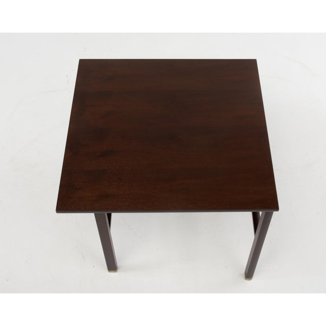 1960s Cantilevered Edward Wormley Dunbar Square Side End Table 1960s Walnut Brass Tag For Sale - Image 5 of 10