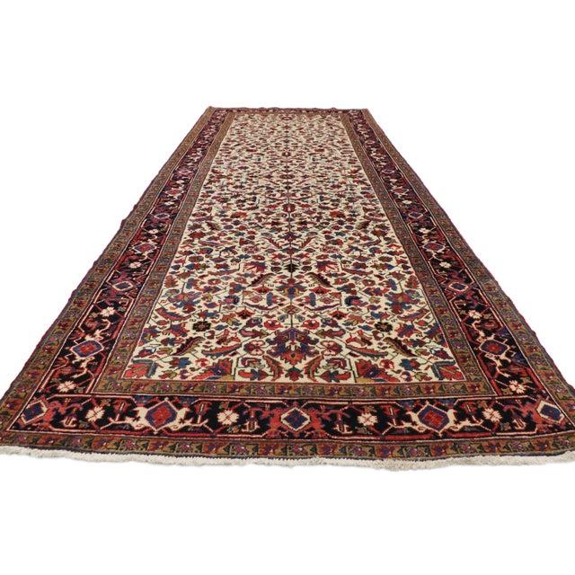 Arts & Crafts Antique Persian Heriz Rug Runner - 04'09 X 12'02 For Sale - Image 3 of 10
