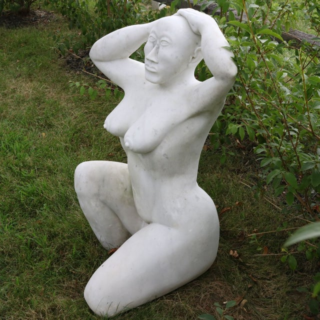 White Marble Nude Sculpture - Image 6 of 11