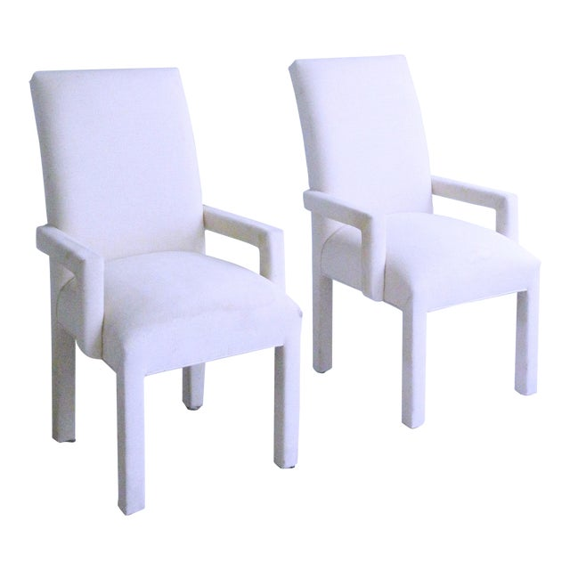 Parsons Armchairs Post Modern Art Deco Inspired Upholstered Chairs - A Pair For Sale