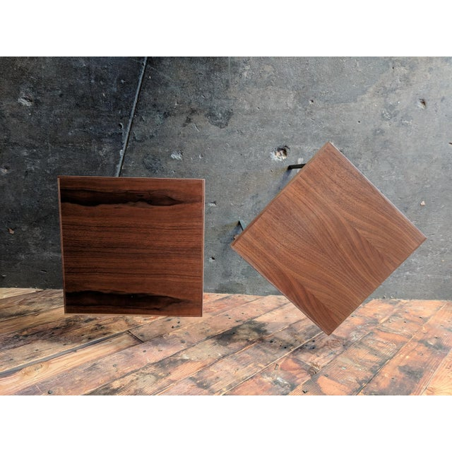 Custom Walnut & Iron Side Tables - A Pair - Image 3 of 5