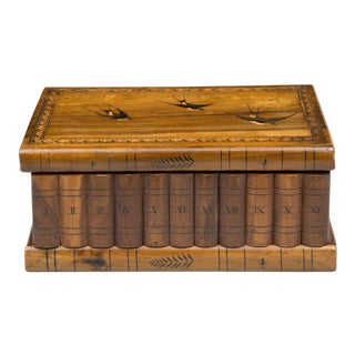 Antique Italian Grand Tour Olivewood Book Box For Sale