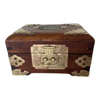 Vintage Wooden Jewelry Box With Brass Accents For Sale