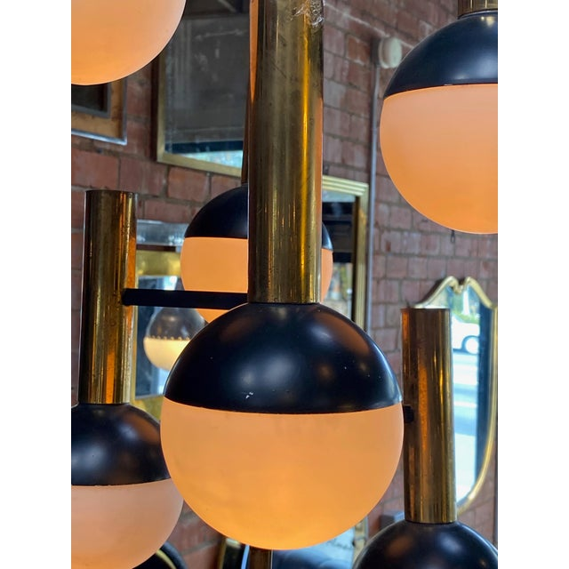 Stilnovo Mid-Century Brass 5 Opaline Glass Chandelier, Italy, Circa 1955 For Sale In Los Angeles - Image 6 of 7