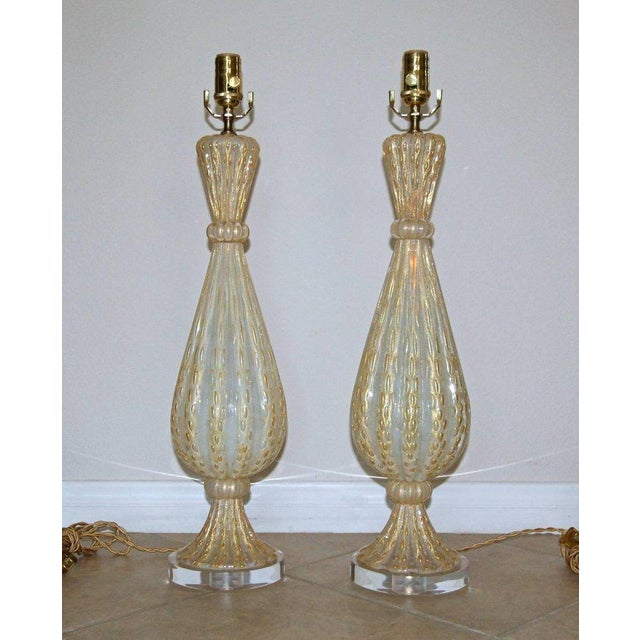 1950s Italian Arovier E Toso Gold Opalescent Murano Table Lamps - a Pair For Sale - Image 10 of 13