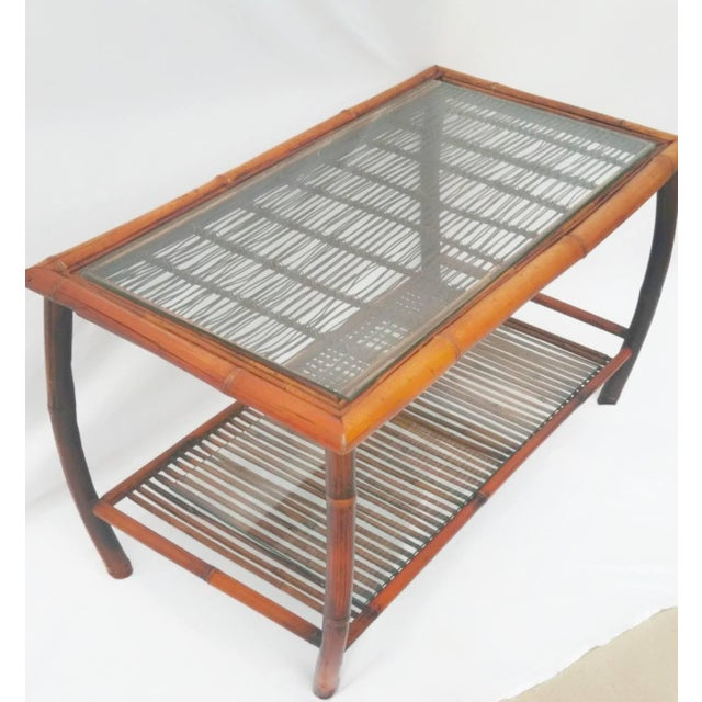 Hollywood Regency Bamboo and Rattan Coffee Table For Sale In Phoenix - Image 6 of 8