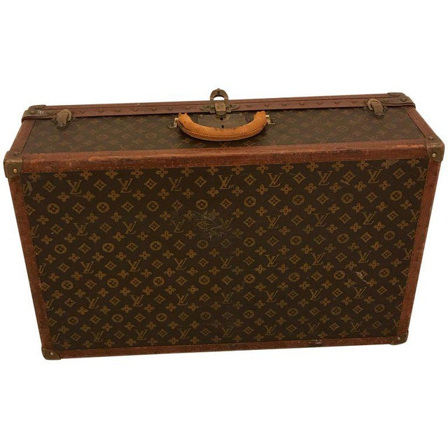 1930s Louis Vuitton Leather Trunk or Suitcase For Sale - Image 13 of 13