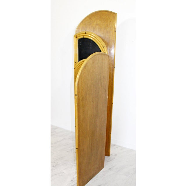 Wood 1970s Mid-Century Modern 3 Panel Rattan and Mirror Folding Screen Room Divider For Sale - Image 7 of 8