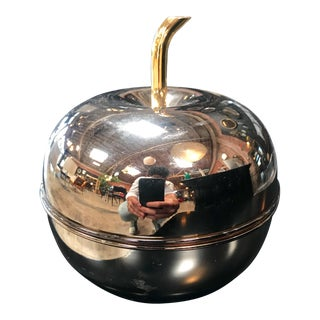 1980's Vintage Metal Bronze Apple Decorative Box