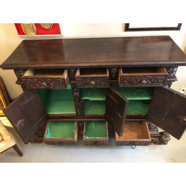 19th Century Renaissance Revival Hand Carved Cabinet For Sale - Image 11 of 13