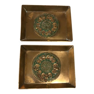 Chinese Brass and Enamel Trays - A Pair For Sale