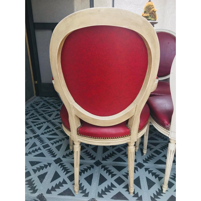 French Louis XVI Red Leather Oval Back Dining Chairs - Set of 6 For Sale - Image 3 of 13