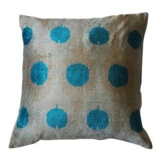 Contemporary Silk Velvet Ikat Pillow Cover Bohemian Pillow For Sale