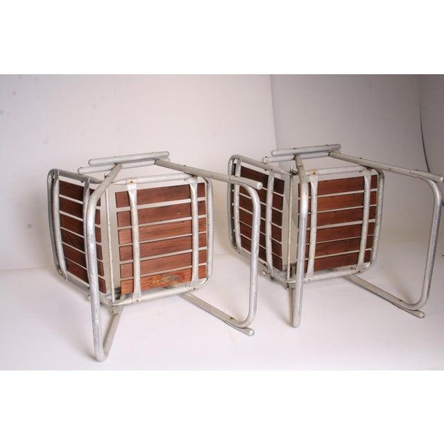 Vintage Redwood & Aluminum Folding Rocking Chairs - Set of 4 - Image 8 of 11