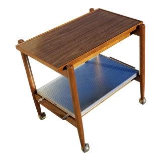 Vintage Poul Hundevad Danish Modern Rolling Salton Convertible Serving Bar Cart For Sale