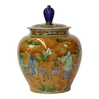 Chinese Copper Yellow Color Ceramic People Graphic Urn Container For Sale