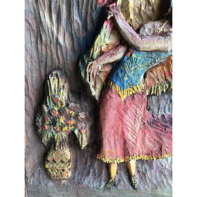 """This is a lovely little hand carved and painted folk art plaque of a female dancer, """"Dancing Dee"""". Signed on verso """"Dee 36""""."""