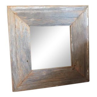 Vintage Bleachy Square Wall Mirror For Sale