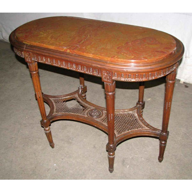 Traditional Antique Carved Marble Top Wood Table For Sale - Image 3 of 6