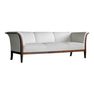 Classic Frits Henningsen Sofa in Mahogany and Wool, Denmark, 1940s For Sale