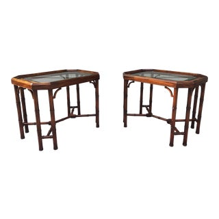 Faux Bamboo End Tables - a Pair For Sale
