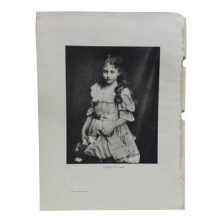 "1900 Vintage ""Portrait of a Girl"" Print by James L. Breese For Sale"