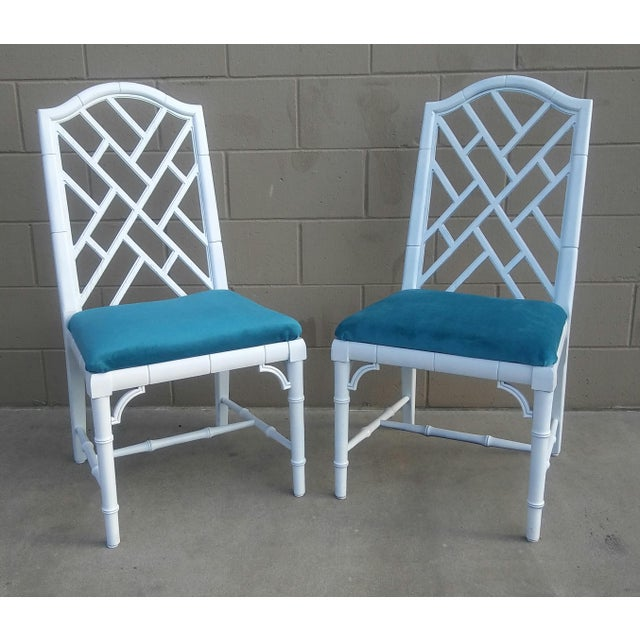 Century Chippendale White Faux Bamboo Chairs - a Pair - Image 10 of 10