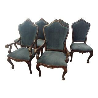 Henredon Furniture Arabesque Venetian Mahogany Velvet Dining Arm Chair For Sale