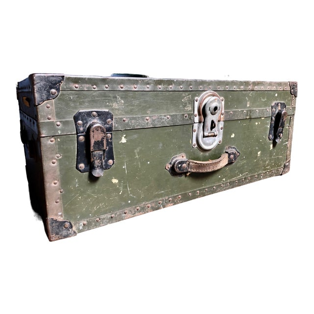 Vintage P & S Co. Military Footlocker With Contrasting Metal Hardware and Leather Handle For Sale