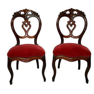 Carved Back Chairs - Pair