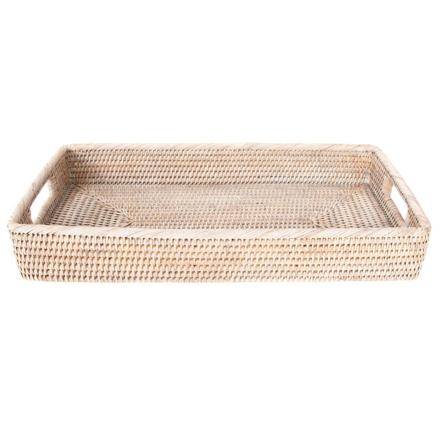 Artifacts Rattan Rectangular Tray with Rounded Corners For Sale