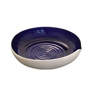 Large Hand-Thrown Israeli Artisan Shallow Studio Pottery Bowl For Sale
