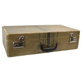 Vintage Tweed Travel Suitcase For Sale