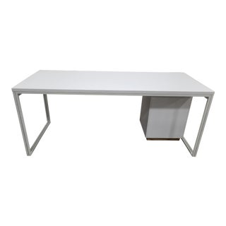 Industrial West Elm White Writing Desk For Sale