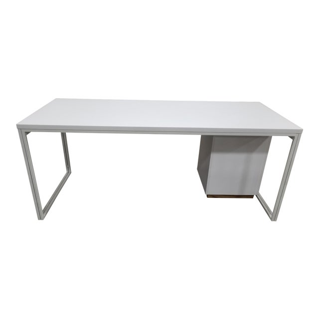 Industrial West Elm White Writing Desk Chairish
