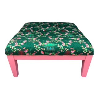 1990s Green Chinoiserie Ottoman For Sale