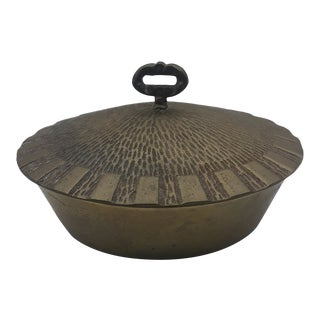 Vintage Brass Covered Dish For Sale