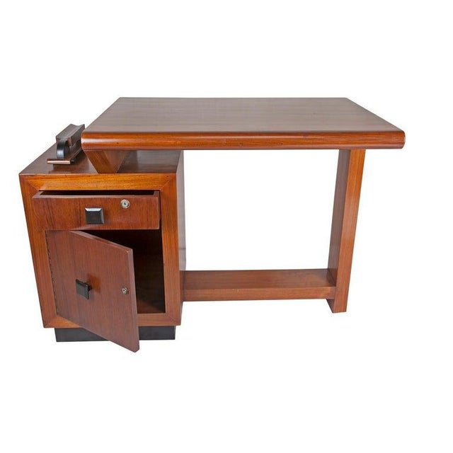 Mid-Century Modern Teak Desk With Ebonized Accents For Sale - Image 4 of 10