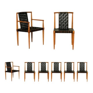 Miraculous Set of Eight Leather Strap Dining Chairs by Tomlinson For Sale