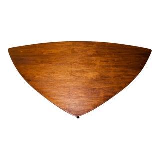 1960s Mid-Century Modern Erwin Lambeth Triangle Walnut Coffee Table For Sale