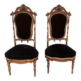 1900s Victorian Rosewood Nursing Chairs - a Pair